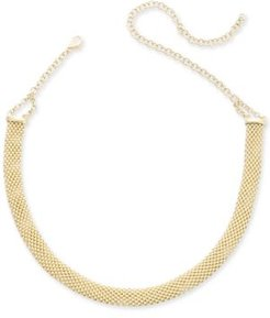 "Popcorn Mesh Link Choker Necklace in 14k Gold-Plated Sterling Silver, 13"" + 5"" extender"