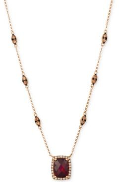 Pomegranate Garnet (2 1/3 ct.t.w.) and diamond (7/8 ct.t.w.) Necklace set in 14k Rose Gold