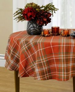 """Loden Plaid 70"""" Round Tablecloth"""
