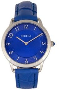 Quartz Abby Collection Silver And Blue Leather Watch 33Mm