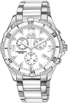 Chronograph Eco-Drive Diamond Accent Stainless Steel and White Ceramic Bracelet Watch 40mm FB1230-50A