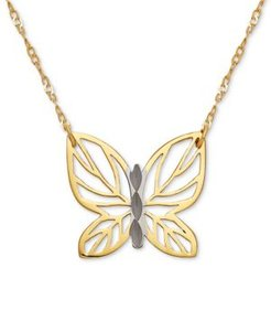 """Butterfly 17"""" Pendant Necklace in 10k Gold"""