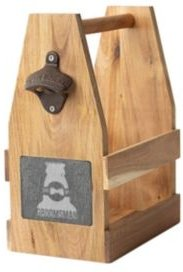 Groomsman Acacia Slate Beer Carrier with Magnet and Bottle Opener