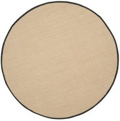 Natural Fiber Maize and Black 6' x 6' Sisal Weave Round Rug