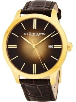 """Stainless Steel Gold Tone Case on Brown Alligator Embossed Genuine Leather Strap, Gold Tone """"Burnt"""" Center Dial, with Gold Tone Accents"""