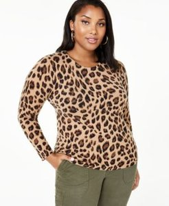 Plus Size Animal Print Cashmere Sweater, Created for Macy's