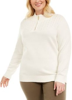 Plus Size Cotton 1/4-Zip Mock-Neck Sweater, Created for Macy's
