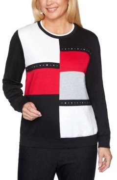 Petite Colorblocked Well Red Top