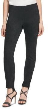 Suede Ponte Skinny Pull-On Pants