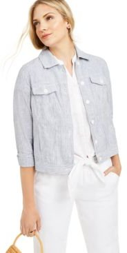 Petite Linen Striped Jacket, Created for Macy's