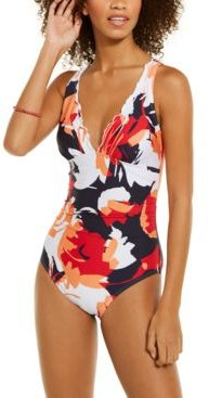 Floral Print One-Piece Swimsuit Women's Swimsuit