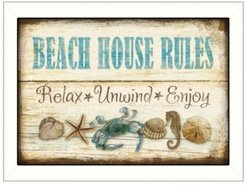 "Beach House Rules By Mollie B, Printed Wall Art, Ready to hang, White Frame, 10"" x 14"""
