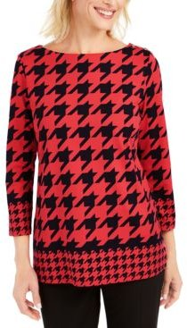 Houndstooth 3/4-Sleeve Top, Created for Macy's