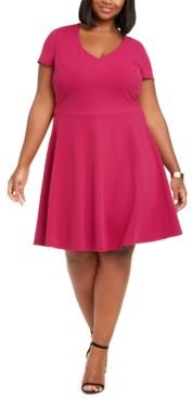 Trendy Plus Size Bow-Back Skater Dress, Created for Macy's