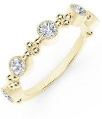 Tribute Collection Diamond (1/2 ct. t.w.) Ring With Beaded Detail In 18 Yellow, White and Rose Gold