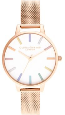 Rose Gold-Tone Stainless Steel Mesh Bracelet Watch 34mm