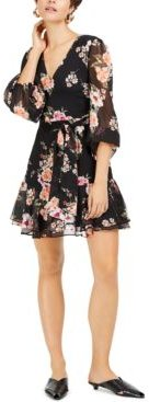 Floral-Print Blouson-Sleeve Fit & Flare Dress, Created for Macy's