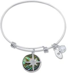 """""""Journey"""" Cubic Zirconia and Genuine Abalone Adjustable Bangle Bracelet in Stainless Steel"""