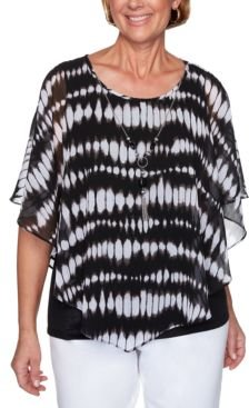 Checkmate Tie-Dyed Flutter-Sleeve Necklace Top