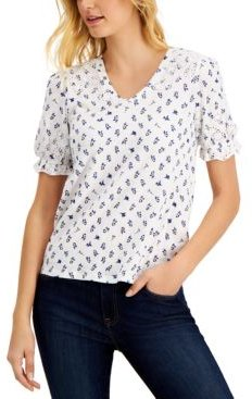 Embroidered Eyelet Puff-Sleeve Top