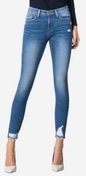 Mid Rise Cuffed Skinny Ankle Jeans