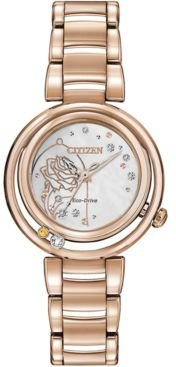 Eco-Drive Women's Belle Diamond-Accent Rose Gold-Tone Stainless Steel Bracelet Watch 30mm
