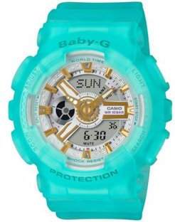 Baby-g Women's Analog-Digital Frosted Blue Resin Strap Watch 43.4mm