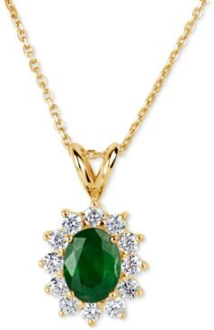 Emerald (1-1/10 ct. t.w.) and Diamond (5/8 ct. t.w.) Pendant Necklace in 14k Gold