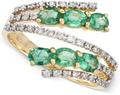 Emerald (7/8 ct. t.w.) and Diamond (1/4 ct. t.w.) Bypass Ring in 14k Gold