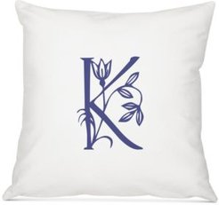 """Personalized Floral Initial 16"""" Square Decorative Pillow"""