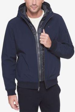 Big & Tall Hooded Soft-Shell Jacket with Inset Quilted Puffer Bib