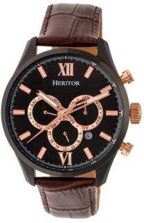 Automatic Benedict Black & Dark Brown Leather Watches 40mm