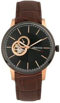 Automatic Landon Rose Gold & Brown Leather Watches 44mm