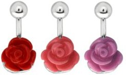Bodifine Stainless Steel Rose Belly Bars Set of 3