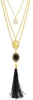 Simulated White Pearl And Rhinestone Hammered Disc Yellow Gold-Tone Black Tassel Chain Necklace