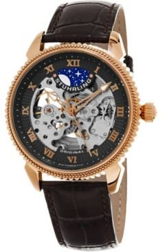 Original Men's Automatic Skeleton Watch, Rose Tone Case on Brown Alligator Embossed Genuine Leather Strap, Gray Skeletonized Dial, With Rose Tone, White, and Blue Accents