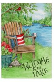 """Melinda Hipsher 'Welcome To The Lake Chair' Canvas Art - 12"""" x 19"""""""