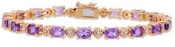 Amethyst (7-1/5 ct.t.w.) with Diamond Accent Tennis Bracelet in 18K Rose Gold over Sterling Silver