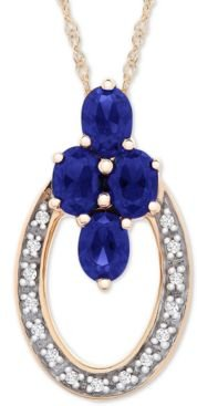 """Sapphire (9/10 ct. t.w.) and Diamond Accent 18"""" Pendant Necklace in 14k Gold"""
