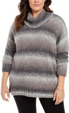 Plus Size Ombre Cowl-Neck Sweater, Created for Macy's