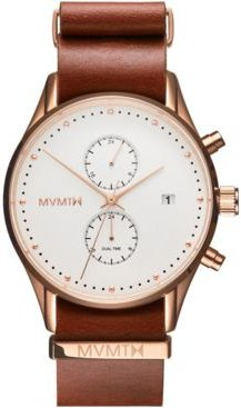 Voyager Rosewood Leather Strap Watch 42mm