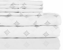 300 Thread Count with 2 Bonus Pillowcases, 6-pc Printed Full Sheet Set Bedding