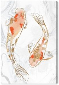 """Two Koi Fish Marble by Julianne Taylor Style Canvas Art - 15"""" x 10"""" x 1.5"""""""