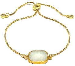 Gold Plated Pull Chain Bracelet with Crescent Moon Electroform Moonstone Stone
