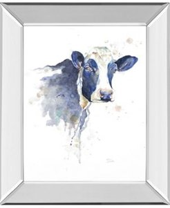 """Watercolor Blue Cow by Patricia Pinto Mirror Framed Print Wall Art, 22"""" x 26"""""""