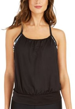 Logo Layered-Look Tankini Top Women's Swimsuit