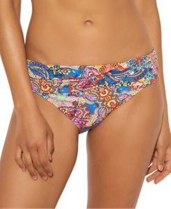 Printed Ruched Hipster Bikini Bottoms Women's Swimsuit