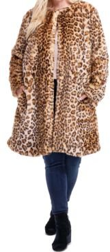 Plus Size Leopard-Print Faux-Fur Coat