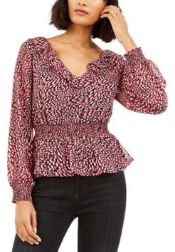 Ditsy-Print Low-Back Ruffled Top, Created for Macy's
