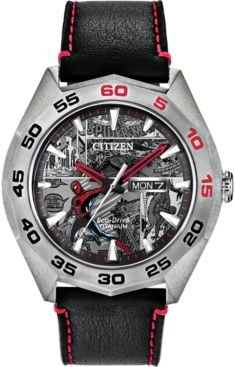 Marvel by Citizen Eco-Drive Men's Spider-Man Black Leather Strap Watch 44mm - Limited Edition